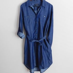 BANANA REPUBLIC Chambray Shirt Dress - Size 14